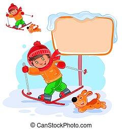 menino, pequeno, vetorial, ilustração, esquiando
