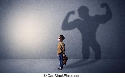 menino, pequeno, waggish, muscleman, atrás de, sombra