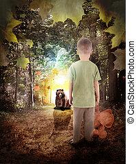 menino, perdido, urso, madeiras, animal, sonho
