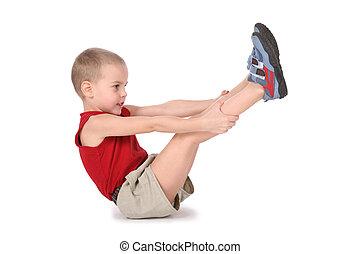 menino, pernas, ioga, cima
