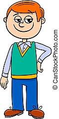 menino, personagem, caricatura, ilustração