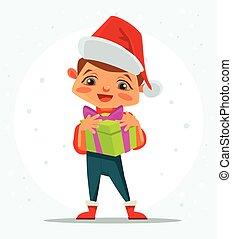 menino, personagem, ter, presente, box., feliz, novo, year., casar, natal., vetorial, apartamento, caricatura, ilustração