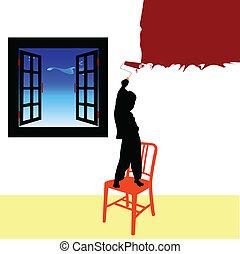 menino, pintura, sala, vetorial, ilustração