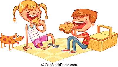 menino, piquenique, sanduíches, comer, menina, filhote cachorro