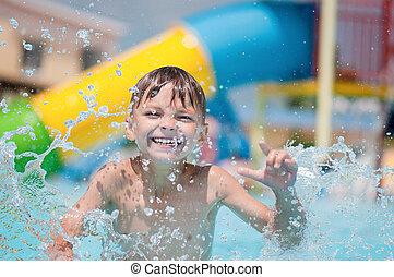 menino, piscina, feliz