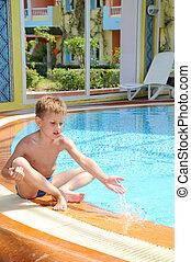 menino, piscina, jovem