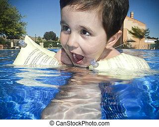 menino, piscina, natação