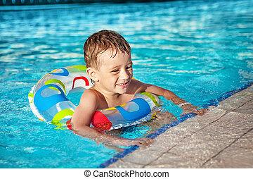 menino, piscina, recurso