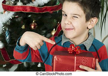menino, pontos, saída, seu, presente, ligado, natal