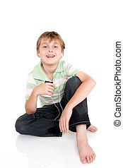 menino, portátil, sentando, jogador, música, casual