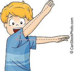 menino, pose, ângulo, criança, agudo