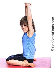 menino, prática, ioga
