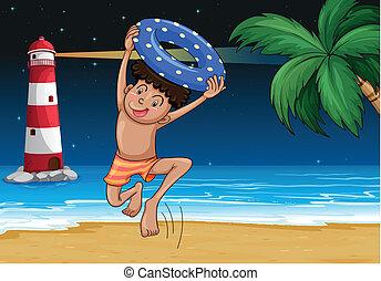 menino, praia