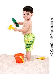 menino, praia, criança