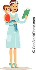 menino, pre-escola, médico feminino, exame médico, pediatra,...