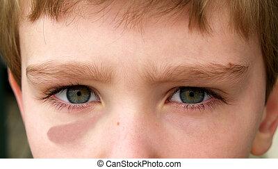 menino, preto olho