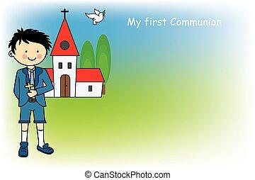 menino, primeiro, comunhão, cartão