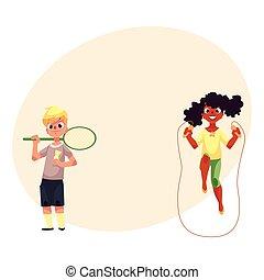 menino, pular, badminton, pátio recreio, raquete, menina, corda