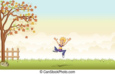 menino, pular, caricatura, adolescente