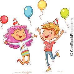 menino, pular, crianças, aniversário, divertimento, menina partido
