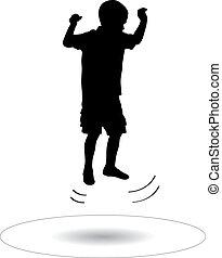 menino, pular, trampoline