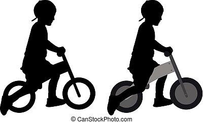 menino, pushbike, silueta, montando