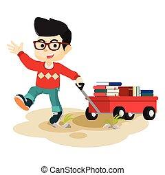 menino, puxando, cheio, livros, cartão