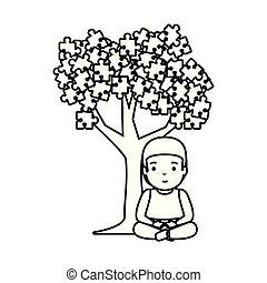 menino, quebra-cabeça, árvore, anexado