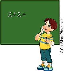 menino, resolvendo problema, matemática, ilustração