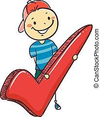 menino, símbolo, marca, vara, segurando, cheque, criança