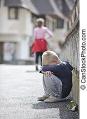 menino, só, rua, triste