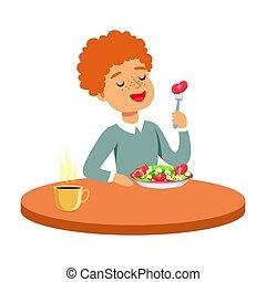 menino, salada, comer, coloridos, sentando, personagem, ilustração, ruivo, vetorial, vegetal, tabela, feliz