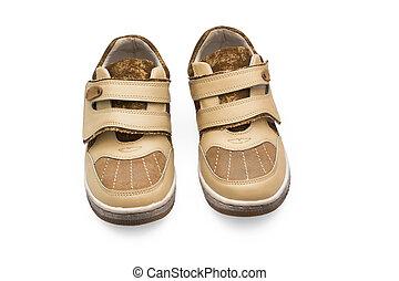 menino, sapatos, dois, isolado, bebê, par, sapato, criança, pequeno, novo, branca, calçado