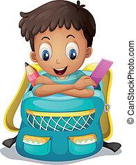menino, schoolbag, dentro