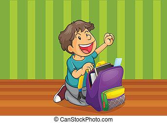 menino, schoolbag