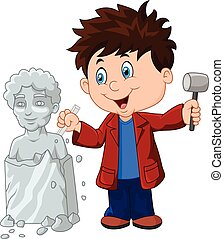 menino, segurando, cinzel, escultor