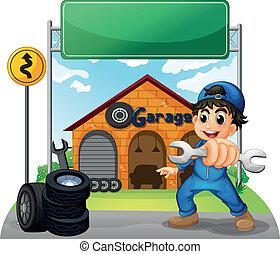 menino, segurando, ferramenta, signboard, ilustração, garagem, fundo, frente, branca, vazio