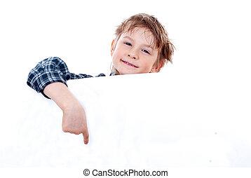 menino, segurando, isolado, fundo, branca, bandeira