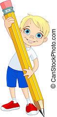 menino, segurando, lápis