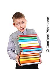 menino, segurando, pilha, de, a, livros
