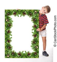 menino, segurando, um, natal, bandeira