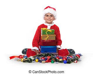 menino, segurar um presente