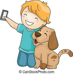 menino, selfie, cão, ilustração, criança