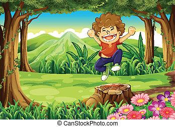 menino, selva, alegre