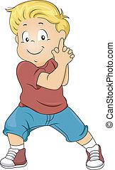 Menino, semelhante, dobrado, arma, mãos, tocando, criança