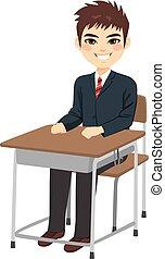 menino sentando, estudante, escrivaninha