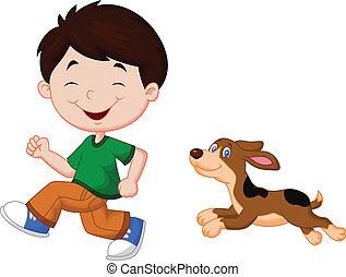 menino, seu, animal estimação, caricatura, executando