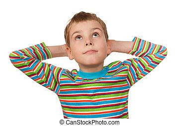 menino, seu, cima, atrás de, fundo, olha, mãos, retrato, head., branca, sorrindo, ele