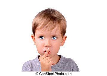 menino, seu, cima, coberturas, boca, dedo