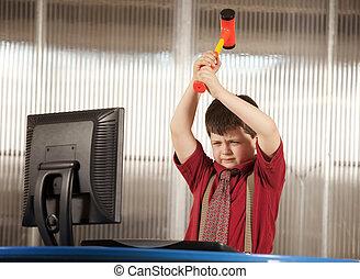 menino, seu, computador, esmagando, nerdy